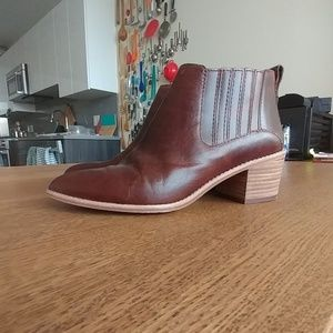 Madewell Point Toe Brown Leather Booties